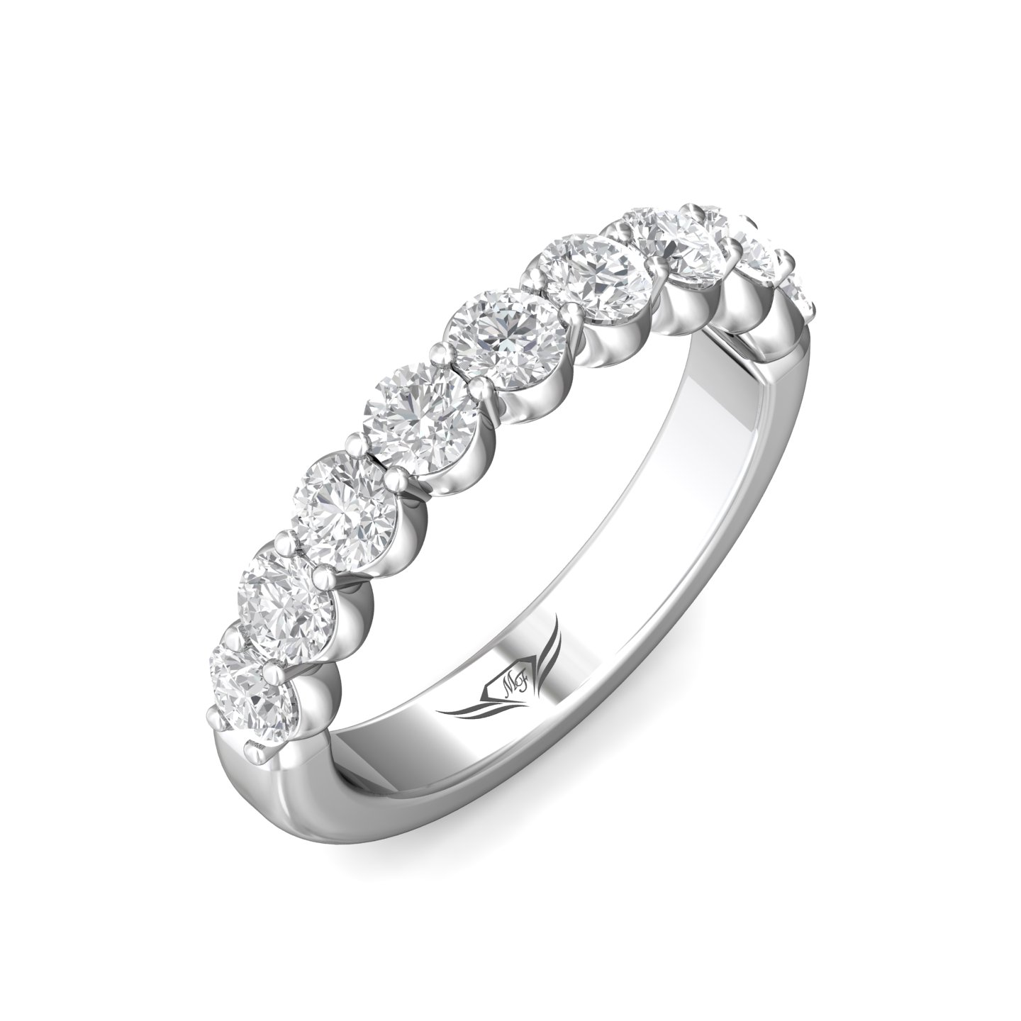 Diamond Wedding Band - Ladies platinum high polished diamond wedding band.  This classic band features 13 shared prong set round brilliant cut diamonds.  The diamonds are G-H color, VS2-SI1 clarity and weigh 0.55 ct.   This ring weighs 4.30 grams and is size 6.00.