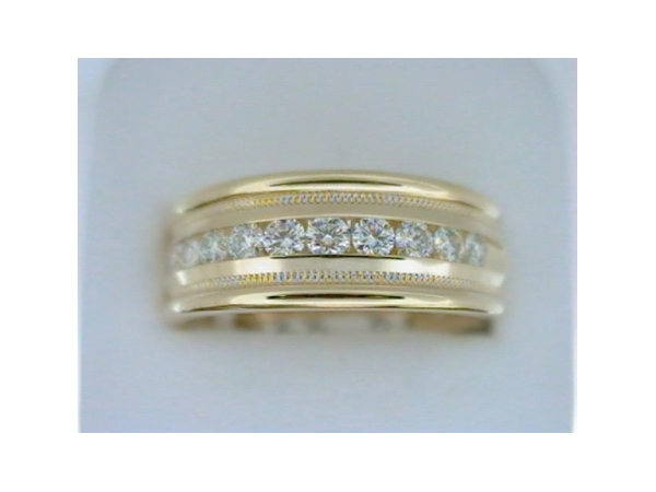 Diamond Wedding Band - Gentlemen's 14 karat yellow gold high polished and milgrain finish diamond wedding band.   This band features 10 channel set round diamonds.  The diamonds are G-H color, SI1 clarity and weigh 0.50 ct.  This band weighs 11.60 grams and is size 10.00.