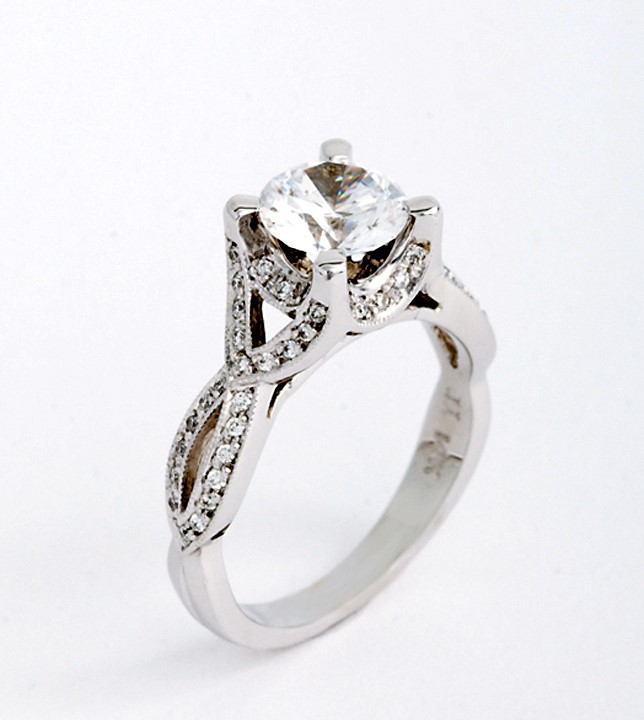Diamond Semi-Mount Ring - Ladies 14 karat white gold milgrain diamond semi-mount ring.  This crossover style ring features 68 shared prong set round brilliant cut diamonds.  The diamonds are G-H color, SI1 clarity and weigh 0.36 ct.  This ring weighs 5.00 grams and is size 6.50.
