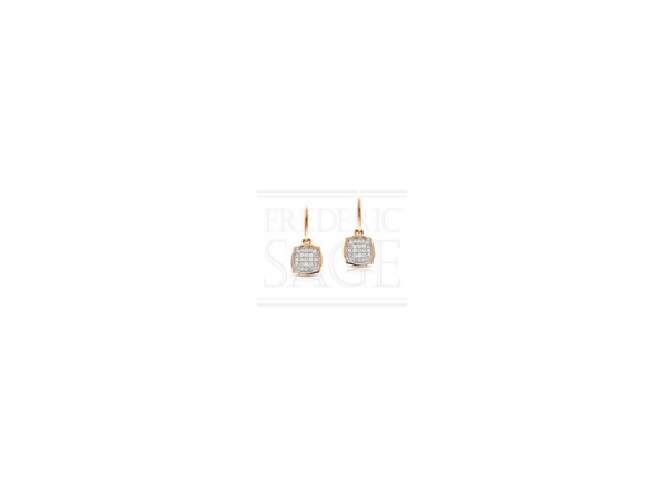 Diamond Earrings - Ladies 14 karat rose gold abstract cushion diamond earrings.  These high polished dangle earrings feature 50 pave set round brilliant cut diamonds.  The diamonds are G-H color, VS2-SI1 clarity and weigh 0.32 ct.  These french hook earrings measure 0.75 inch in length and weighs 2.30 grams.