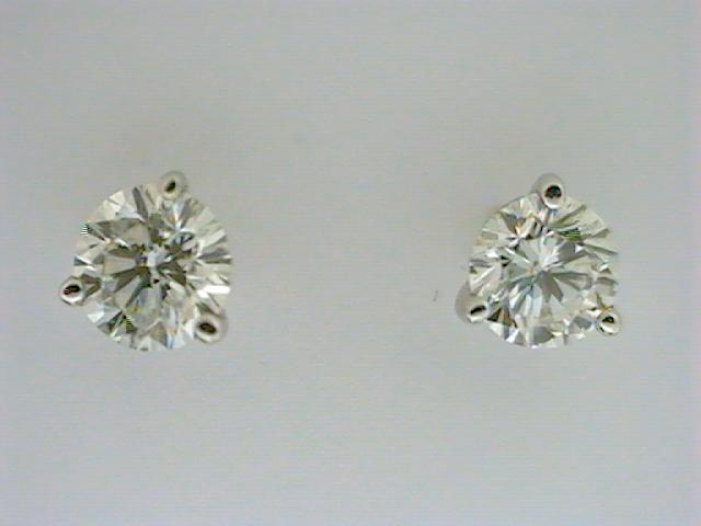 Diamond Stud Earrings - Ladies 14 karat white gold high polished diamond stud earrings.  The earrings feature two martini set round diamonds.  The diamonds are G-H color, SI2 clarity and total 1.00ct.   The earrings have friction posts and backs and weigh 1.00 gram.