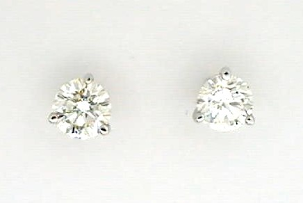 Diamond Stud Earrings - Ladies 14 karat white gold high polished diamond stud earrings.  These earrings feature two martini set round brilliant cut diamonds.  The diamonds are G-H color, SI2 clarity and total 0.40 ct.   The earrings have friction posts and backs and weigh 0.70 gram.