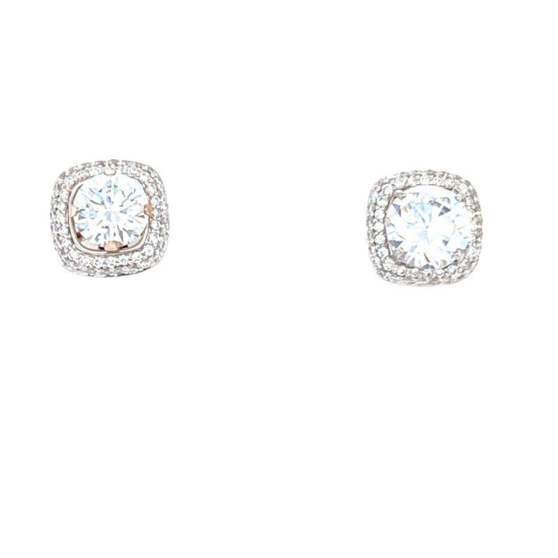 Diamond Earring Jackets - Ladies 18 karat white gold diamond earring jackets.  These high polished jackets feature 102 bead set round brilliant cut diamonds.  The diamonds are G-H color, VS1-2 clarity and weigh 0.37 ct.  The jackets will fit two 0.50 ct diamonds.  These jackets measure 9.00 mm in length and weigh 3.50 grams.