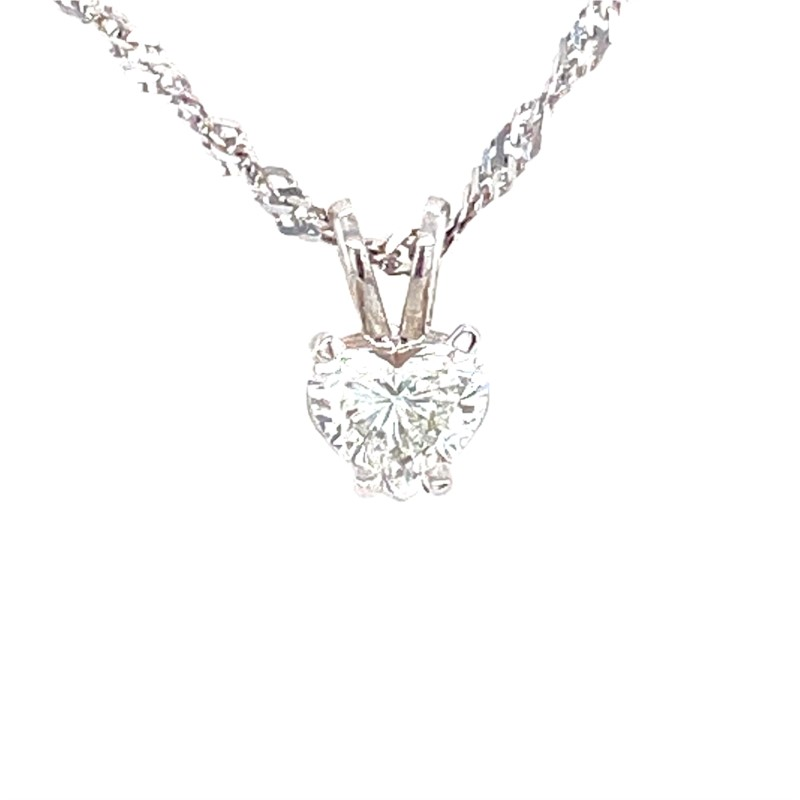 Diamond Pendant - Ladies 14 karat white gold high polished diamond pendant.  This pendant features a prong set heart shaped diamond.  This diamond is F color, VS2 clarity and weighs 0.42 ct.  This pendant weighs 0.50 grams.