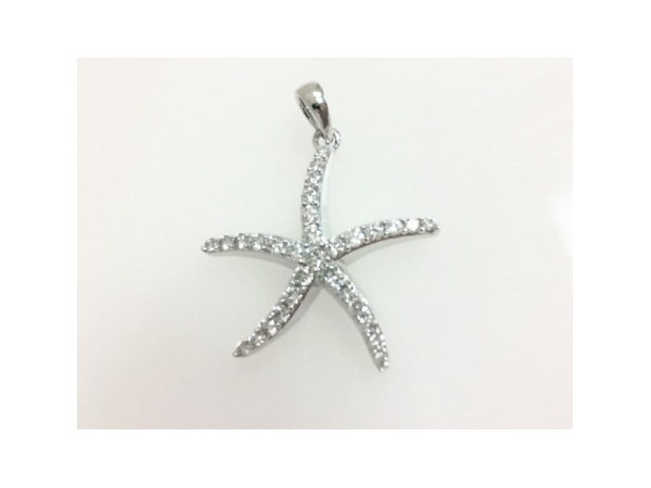 Diamond Pendant - Ladies 14 karat white gold high polished diamond starfish pendant.  This pendant features 31 shared prong set round brilliant cut diamonds.  The diamonds are H-I color, SI1 clarity and weigh 0.50 ct.  This pendant weighs 2.10 grams.