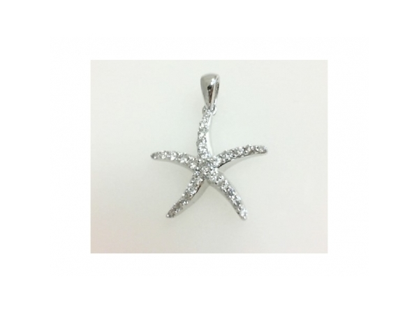 Diamond Pendant - Ladies 14 karat white gold high polished diamond starfish pendant.  This pendant features 26 shared prong set round brilliant cut diamonds.  The diamonds are H-I color, SI1 clarity and weigh 0.25 ct.  This pendant measures 0.75  inch in length and weighs 1.30 grams.