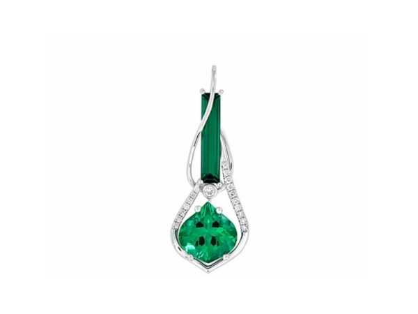 Colored Stone Pendant - Ladies 14 karat white gold Chatham created emerald and diamond pendant. This high polished pendant features one prong set 9.50 mm x 9.00 mm onion cut emerald totaling 2.06 cts. and one prong set 14.00 mm x 3.00 mm baguette cut emerald totaling 0.86 ct. The pendant is accented with17 prong set round brilliant cut diamonds. These diamonds are G-H color, SI1-2 clarity and weigh 0.09 ct. The pendant mearures 1.25 inches in length and weighs 2.70 grams.