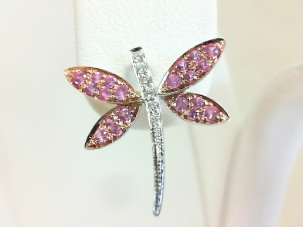 Colored Stone Pendant - Ladies 18 karat white and rose gold pink sapphire and diamond dragonfly pendant. This high polished pendant features 20 pave set round pink sapphires totaling 0.27 and six pave set round brilliant cut diamonds totaling 0.05ct. The diamonds are G-H color, SI1 clarity. The pendant measures 0.75 inch in length and weighs 1.00 grams.