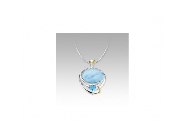 Lena Necklace - Ladies sterling silver and 18 karat yellow gold larimar and blue topaz Lena pendant designed by Marahlago.  This necklace features a large oval larimar gemstone, bezel set in high polished silver. Below the center gem is a prong set trillian cut blue topaz with yellow gold accents at the bottom and on the bail. The pendant is finished with a 20.00 inch snake necklace with a lobster claw clasp and weighs 15.90 grams.