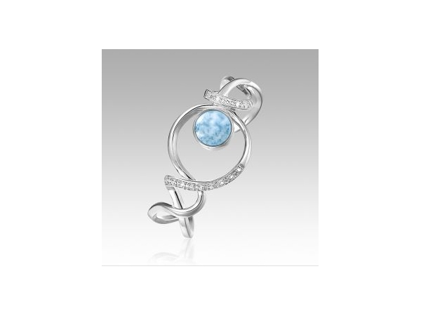 Dante Bracelet - Ladies sterling silver larimar and white topaz Dante bracelet designed by Marahlago. This high polished bracelet features one bezel set round larimar gemstone.  The bracelet is accented with 14 prong set round white topaz.  The bracelet measures 6.50 inches in length and weigh 26.50 grams.