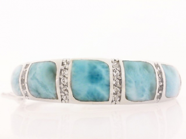 Colored Stone Bracelet - Ladies sterling silver larimar and white topaz Marina bracelet designed by Marahlago.  This high polished hinged bangle features six inlaid custom cut larimar gemstones.  Accenting the bracelet are 25 prong set round white topaz.  The bracelet measures 6.50 inches in length with a hidden clasp with safety and weighs 70.40 grams.