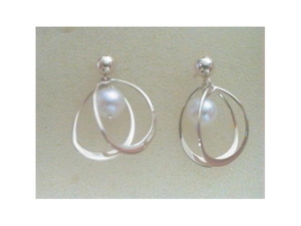 Pearl Earrings - Ladies 14 karat yellow gold high polished pearl and wire loop earrings.  These friction post and back earrings measure 0.75 inches in length and weigh 1.40 grams.
