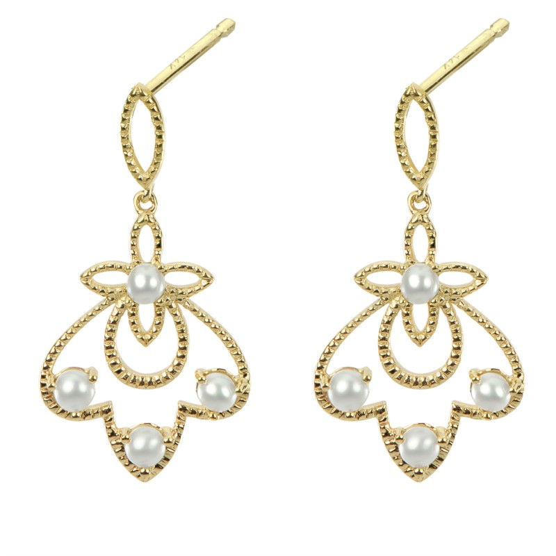 Pearl Earrings - Ladies 14 karat yellow gold seed pearl filligree earrings. These high polished and detailed earrings feature eight prong set 1.50 - 2.50 mm round freshwater seed pearls. The friction post and back earrings measure 1.00 inch in length and weigh 1.90 grams.