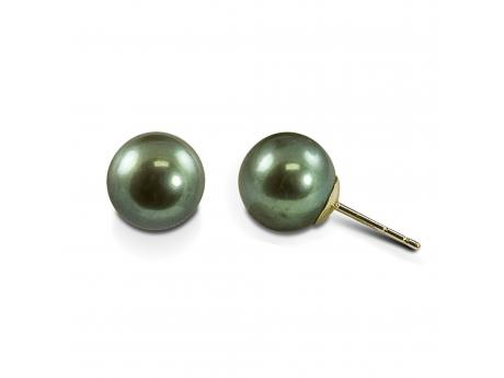 Pearl Earrings - Ladies 14 karat yellow gold high polished freshwater pearl earrings.  The earrings feature two 9.00 - 10.00 mm dyed green freshwater pearls.  The stud earrings have friction posts and backs and weigh 3.10 grams.