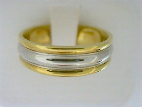 Wedding Band - Gentlemen's Yellow & White Platinum/18K Gold High Polished Ribbed Wedding Band Size 10 Width: 6 Grams: 10.7
