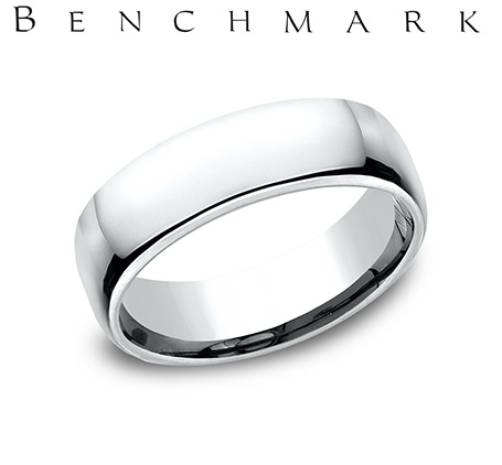Wedding Band - Gentlemen's 14 karat white gold Euro wedding band. The 6.50 mm wide ring weighs 9.70 grams and is size 8.00.