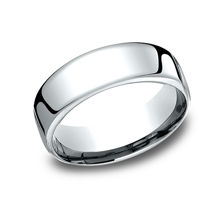 Wedding Band - Gentlemen's 14 karat white gold Euro wedding band. The ring measures 7.5mm wide is size 10 and weighs 12.9 grams.