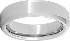 Wedding Band - Gentlemen's Serinium high polished beveled wedding band.  This 6.00 mm wide band weighs 8.50 grams and is size 9.50.