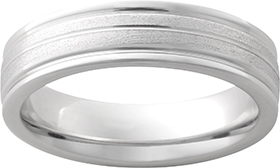 Wedding Band - Gentlemen's Serinium wedding band. This 6.00 mm high polished band features a 0.50 mm grooved stone finish center.  The band weighs 7.20 grams and is size 10.00.