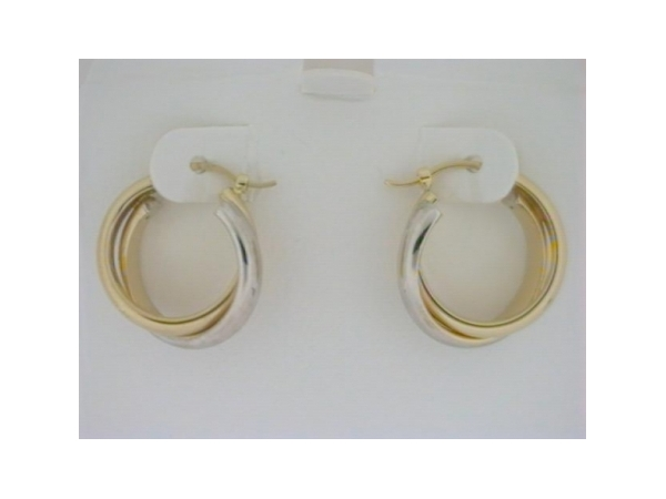 Earrings - Ladies two tone yellow and white gold high polished half round earrings.