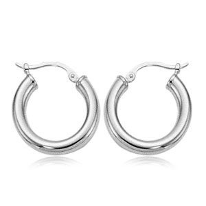 Earrings - Ladies 14 karat white gold high polished small wide tube snapdown earrings.  The earrings are 20.00 mm in diameter.