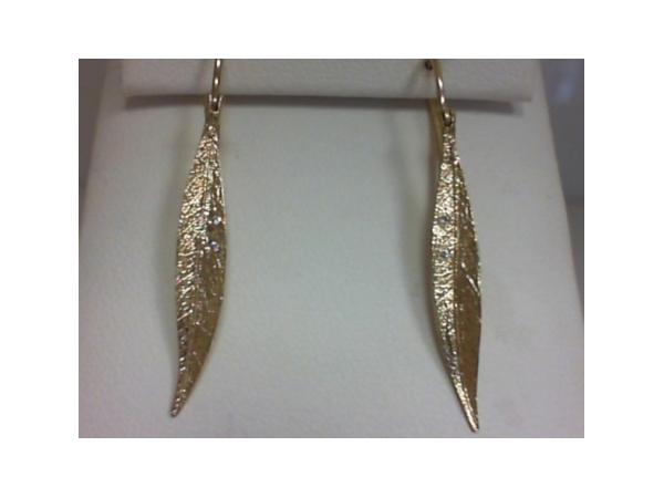 Earrings - Ladies 14 karat yellow gold high polished, satin and detailed leaf earrings.  These leaf design earrings each feature two flush set round brilliant cut diamonds.  The diamonds are G-H color, SI1 clarity and weigh 0.02 ct.   The frenchwire earrings measure 1.50 inches in length and weigh 1.90 grams.