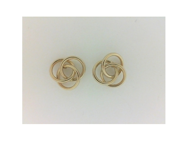 Earrings - Ladies 14 karat yellow gold high polished love knot earrings.    The circular earrings  measure 1/2 inch in diameter with friction post and backs.  These earrings weigh 1.20 grams.