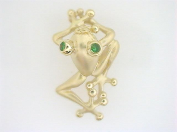 Pendant - Ladies 14 karat yellow gold high polished and satin tsavorite tree frog pendant.  This whimsical climbing tree frog pendant features two 1.70 mm bezel set tsavorite eyes.  This pendant weighs 3.30 grams.