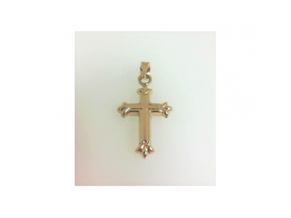 Pendant - Ladies 14 karat yellow gold cross pendant. This high polished cross measures 0.75 inch in length and weighs 0.46 grams.