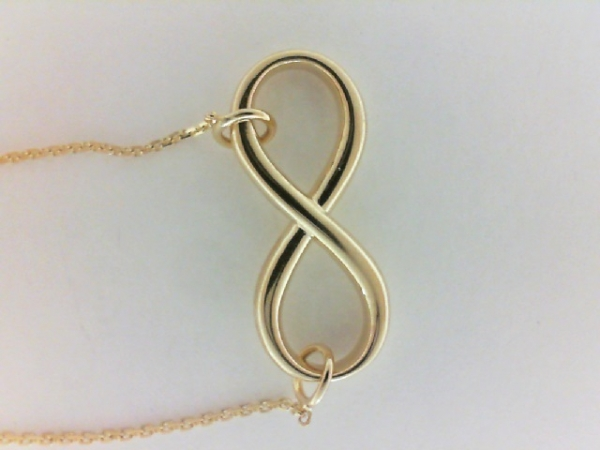 Gold Necklace - Ladies east 2 west 14 karat yellow gold high polished small sideways infinity necklace.  This adjustable cable link necklace measures 16.00 - 18.00 inches in length, has a lobster claw clasp and weighs 3.20 grams.