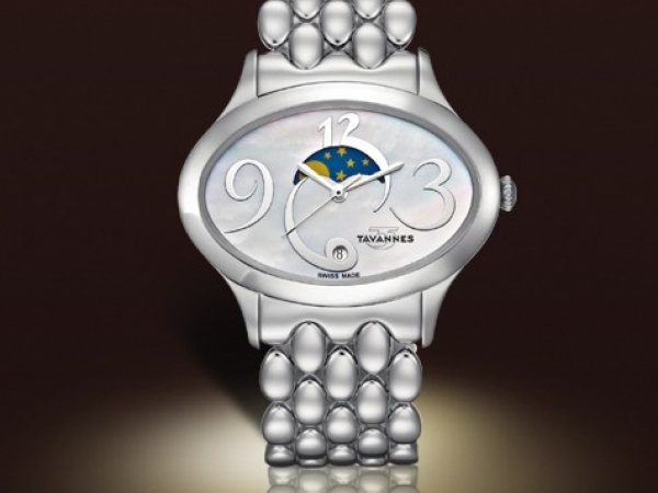 Wrist Watch - Ladies stainless steel swiss quartz Eclipse Collection Tavannes wrist watch.  This timepiece features a mother of pearl white dial with a moon phase and a scratch resistant sapphire crystal.  The watch is 40.00 x 38.00 mm with a stainless steel bracelet with deployment clasp.