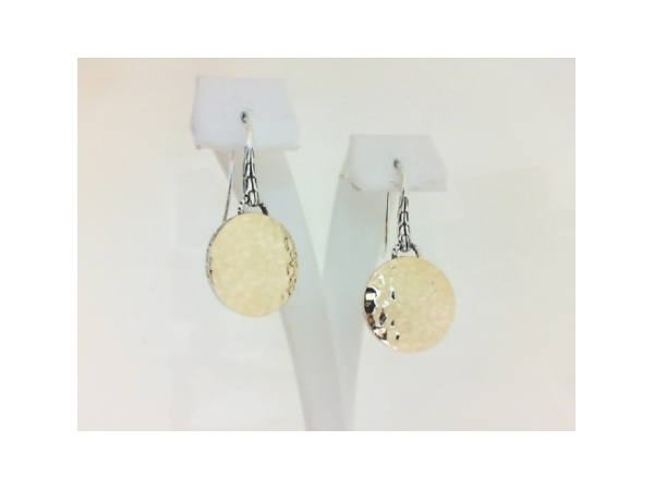 Fashion Earrings - Ladies sterling silver and 18 karat yellow gold Dot Collection round drop earrings designed by John Hardy.  These frenchwire earrings feature 16.50 mm round yellow gold hammered finish drops.  These earrings measure 1.25 inches in length and weigh 6.10 grams.