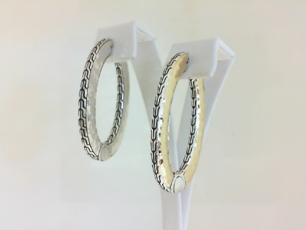 Fashion Earrings - Ladies sterling silver and 18 karat yellow gold Classic Chain Collection hinged hoop earrings designed by John Hardy. These high polished and detailed earrings measure 4.00 inches in length and weigh 17.00 grams.