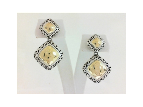 Fashion Earrings - Ladies sterling silver and 18 karat yellow gold Classic Chain Collection earrings designed by John Hardy. These high polished and hammered earrings measure 1.25 inches in length and weigh 8.00 grams.