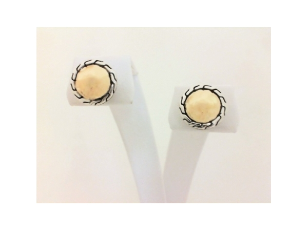 Fashion Earrings - Ladies 18 karat yellow gold and sterling silver Classic Chain Collection round stud earrings. These earrings feature a hammered finish and chain detail. The friction post and back earrings weigh 5.20 grams.