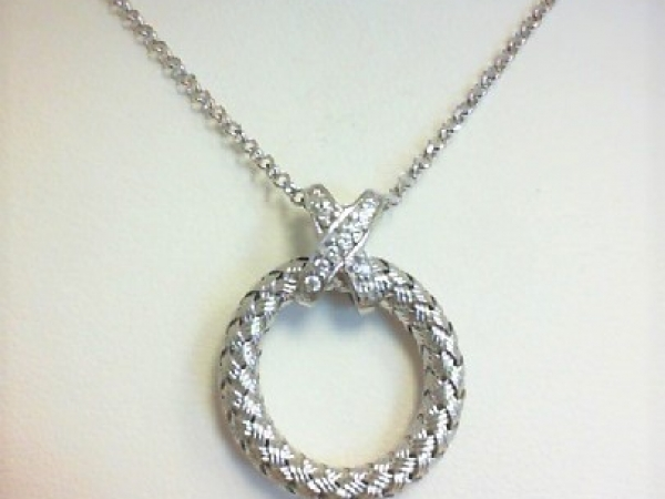 Necklace - Ladies Sterling silver and rhodium finish Calixta cubic zirconium woven circle necklace. This high polished necklace features an X design bail with 11 pave set round cubic zirconiums. The necklace with a lobster claw clasp measures 18.00 inches in length and weighs 4.70 grams.
