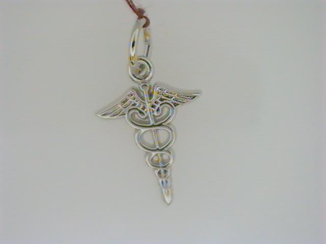 Charm - Ladies sterling silver, high polished and detailed caduceus charm.  This charm is 17.29 mm in length and weighs 0.60 gram.