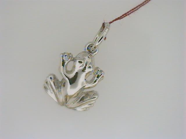 Charm - Ladies sterling silver, high polished frog charm.  This charm is 14.11 mm in length and weighs 1.20 grams.