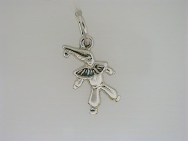 Charm - Ladies sterling silver, high polished and detailed small clown charm.  This charm is 15.08 mm in length and weighs 0.70 gram.