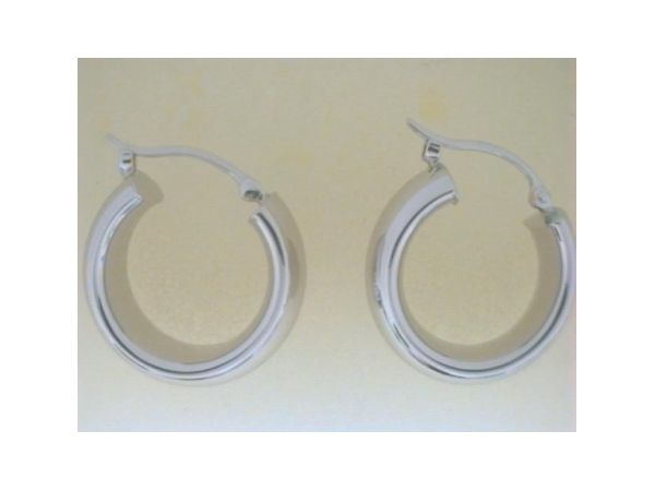 Earrings - Ladies sterling silver high polished small wide tube snapdown earrings.  The earrings weigh 3.60 grams.