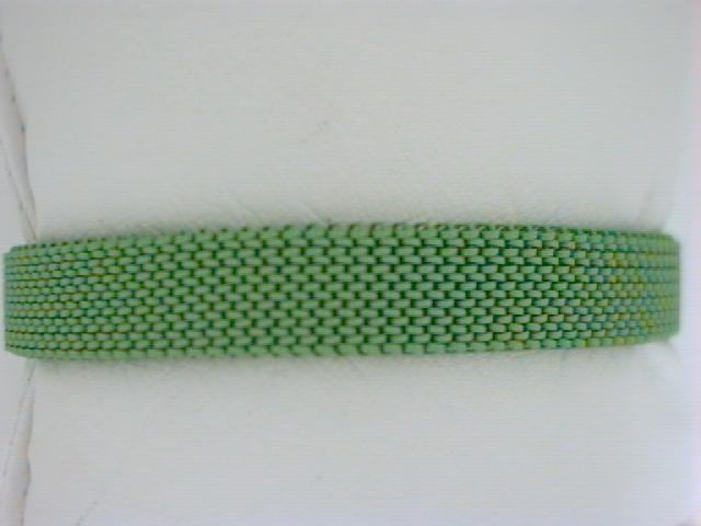 Nautical Bracelet - Ladies green stainless steel mesh stretch bracelet.  This 10.00 mm bracelet accommodates clip on charms and weighs 13.70 grams.