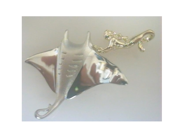 Nautical Pendant - Ladies sterling silver and yellow gold manta ray and mermaid pendant.  This high polished pendant features a manta ray attached to a yellow gold mermaid.  This pendant measures 1.00 inch in width and weighs 5.40 grams.