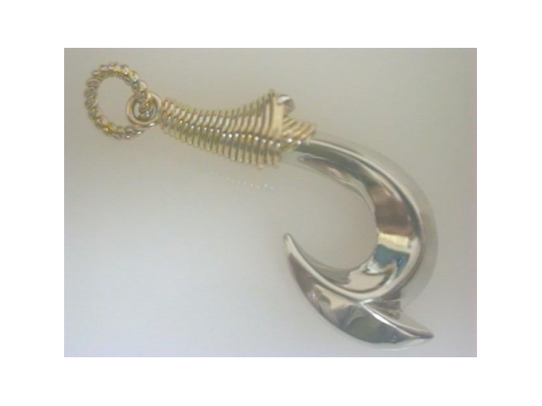 Nautical Pendant - Ladies sterling silver and 14 karat yelllow gold fish hook pendant.  This nautical pendant features a high polished hook with a yellow gold ribbed wrap accent.  The pendant measures 1.50 inches in length and weighs 4.20 grams.
