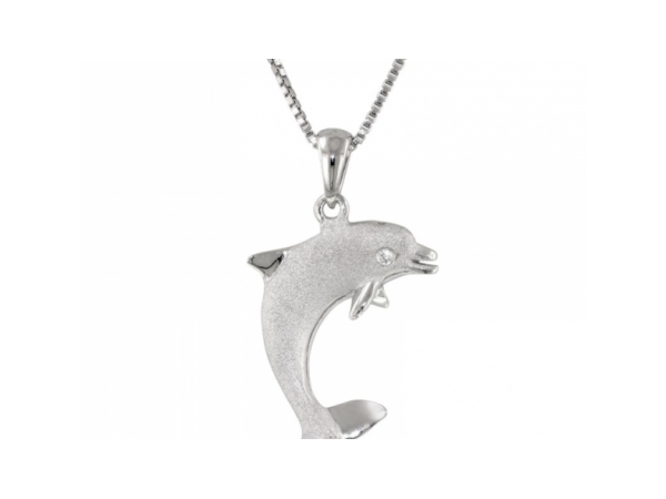 Nautical Pendant - Ladies precious silver collection jumping single dolphin pendant.  This pendant features a sandblasted body accented with one pave set diamond eye totaling 0.01 ct.  The nautical pendant measures 1.00 inch in length and weighs 3.10 grams.