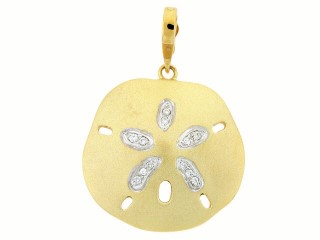 Nautical Pendant - Ladies 14 karat yellow and white gold diamond sand dollar pendant.  This nautical pendant features 12 prong set round brilliant cut diamonds with white gold accenting the diamonds in the center star.   The diamonds are G-H color, SI1-2 clarity and weigh 0.10 ct.  Thie pendant measures 21.00 mm in diameter and weighs 3.20 grams.