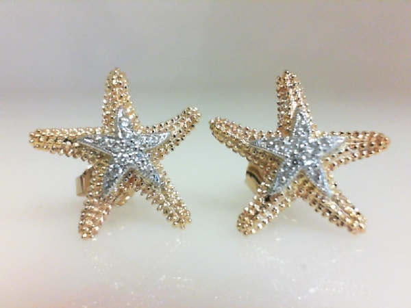 Nautical Earrings - Ladies 14 karat yellow and white gold diamond sea star earrings. These high polished and granulated earrings feature 22 prong set round brilliant cut diamonds. These diamonds are G-H color, SI1-2 clarity and weigh 0.11 ct. The friction post and back earrings weigh 3.50 grams.