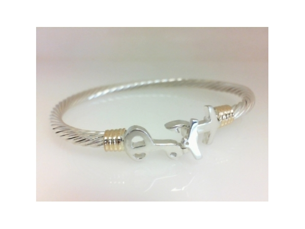 Pawleys Island Bracelet - Ladies sterling silver and 14 karat yellow gold high polished Pawleys Island destination bracelet.  The 3.50 mm cable bracelet features a wrap accent and a hook clasp.  The bracelet is a size 6.50 and weighs 13.00 grams.