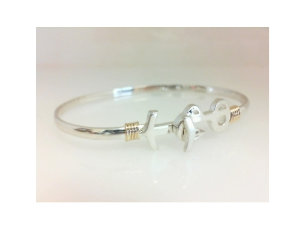 Pawleys Island Bracelet - Ladies sterling silver and 14 karat yellow gold high polished Pawleys Island destination bracelet.  The 3.00 mm bracelet features a wrap accent and a hook clasp.  The bracelet is a size 6.50 and weighs 8.30 grams.