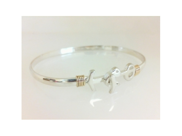 Pawleys Island Bracelet - Ladies sterling silver and 14 karat yellow gold high polished Pawleys Island destination bracelet.  The 4.00 mm bracelet features a yellow gold wrap accent and a hook clasp.  The bracelet weighs 10.60 grams and is size 7.00.