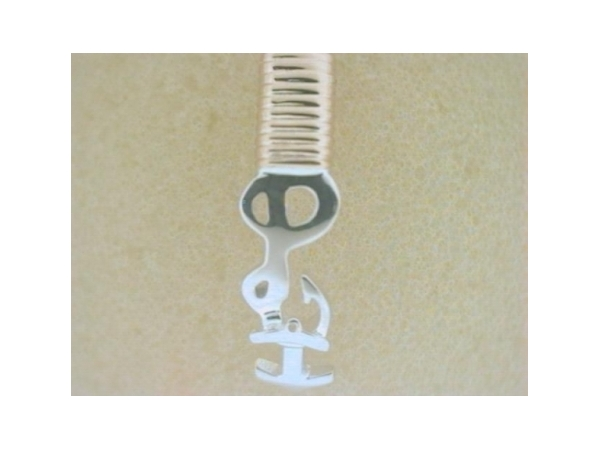 Pawleys Island Pendant - Ladies sterling silver and 14 karat yellow gold high polished pawleys island destination pendant.  This pendant features an anchor and hook with a gold wrap accent.  This pendant measures 1.00 inch in length and weighs 2.00 grams.